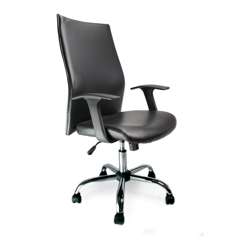Tor High Back, Shirt-Tail Leather Faced, Executive Chair, Black. Eliza Tinsley